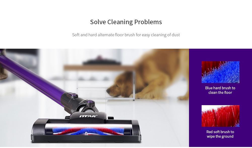ITTAR C19B Home Rechargeable Large Suction Wireless Handheld Vertical Vacuum Cleaner- Purple