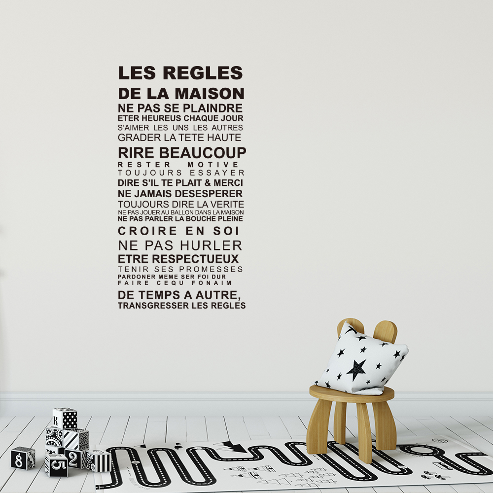 LES REGLES French Home Rules English Rumors Home Decor Removable Stickers- Black 57X110 cm