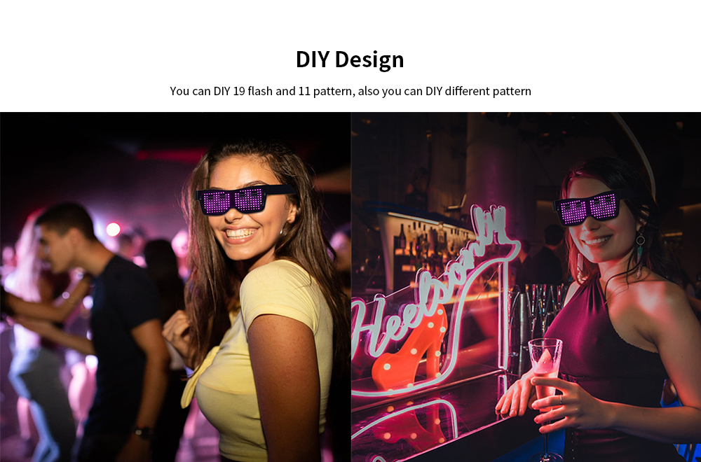 LED Louver Dynamic Bluetooth Colorful Glasses Party Devices App Control DIY Words - Green