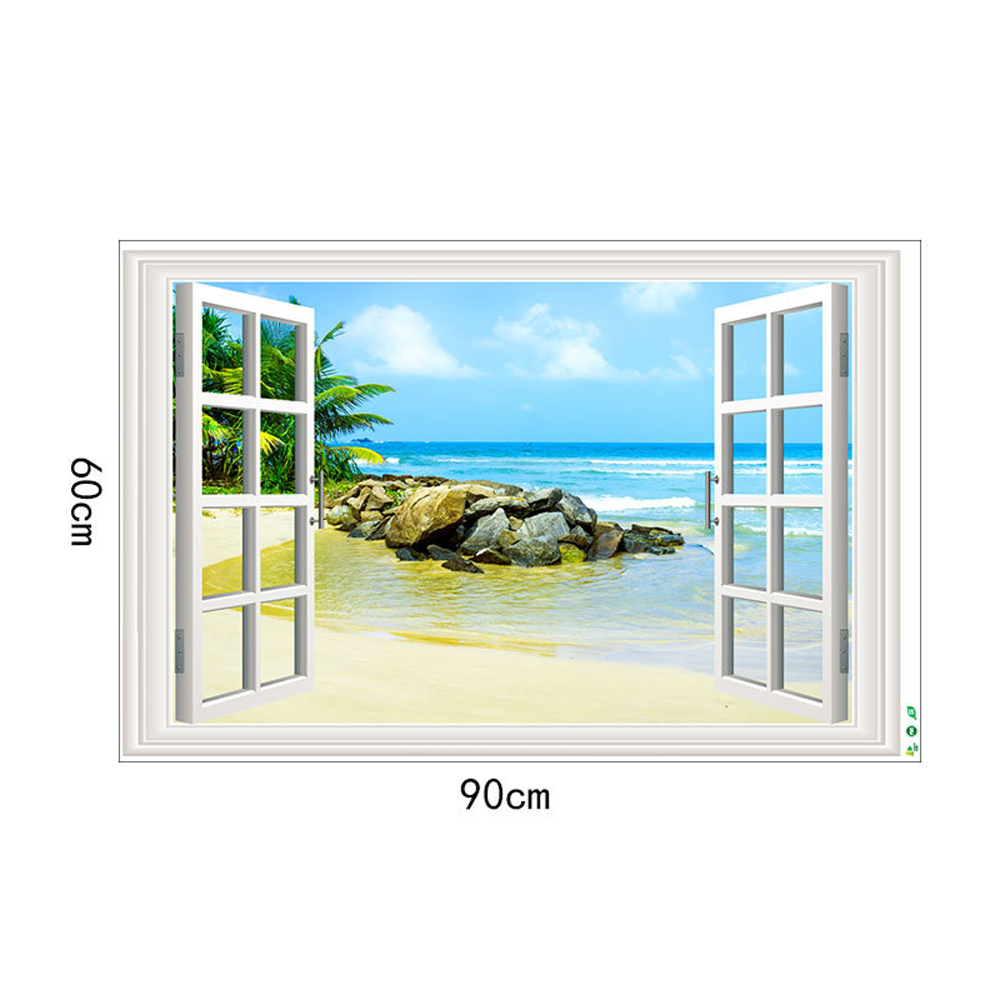 The Sea Movable PVC Window Film Wall Sticker For Home Decoration- Multi 24 x 36 inch