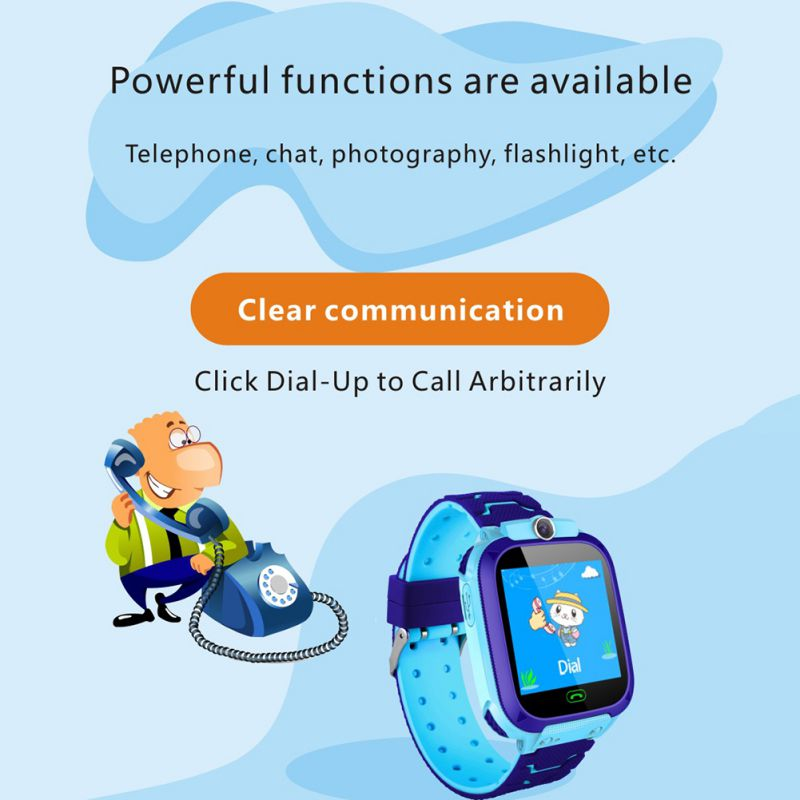 Q12B 1.44 inch Touch Screen Kids Smart Phone Watch Front-facing Camera SOS Call Safety Zone Alarm- Blue