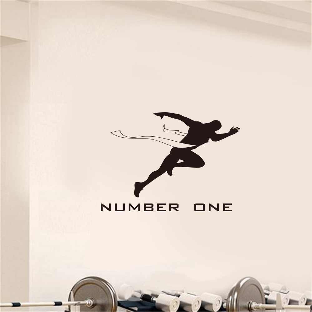 Running Fitness Sports Home Background Wall Decoration Removable Stickers- Black 59x42cm