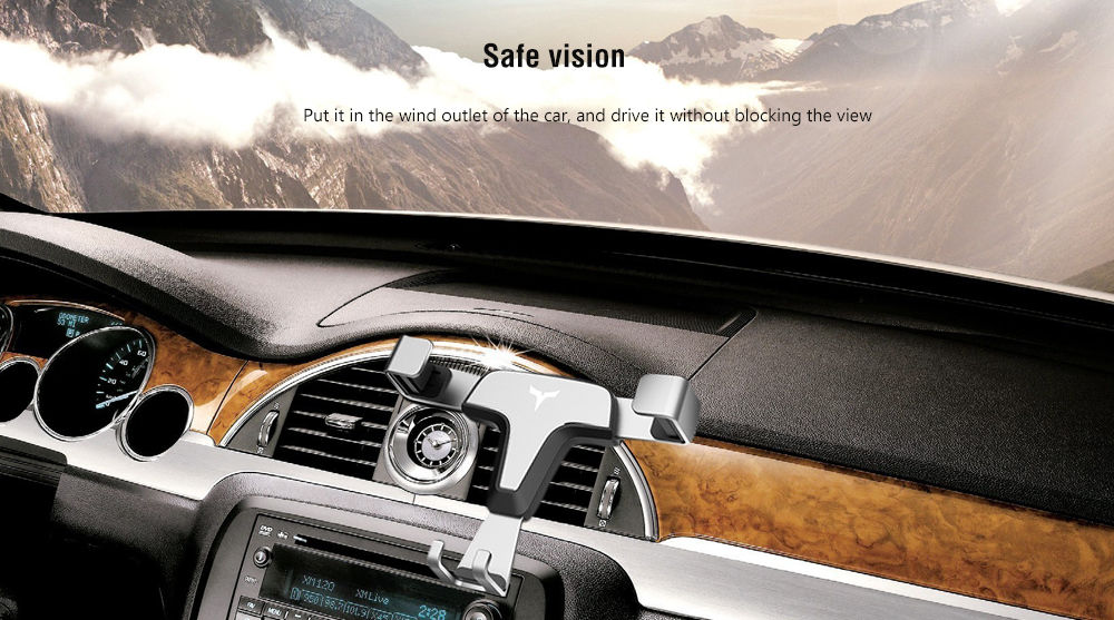 Stable Triangle / Cardan Shaft / Tension Spring Structure Universal Outlet Gravity Mobile Navigation Car Phone Holder - Silver