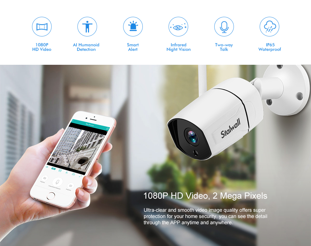 Stalwall N648 Smart Security 1080P AI WiFi IP Camera- White