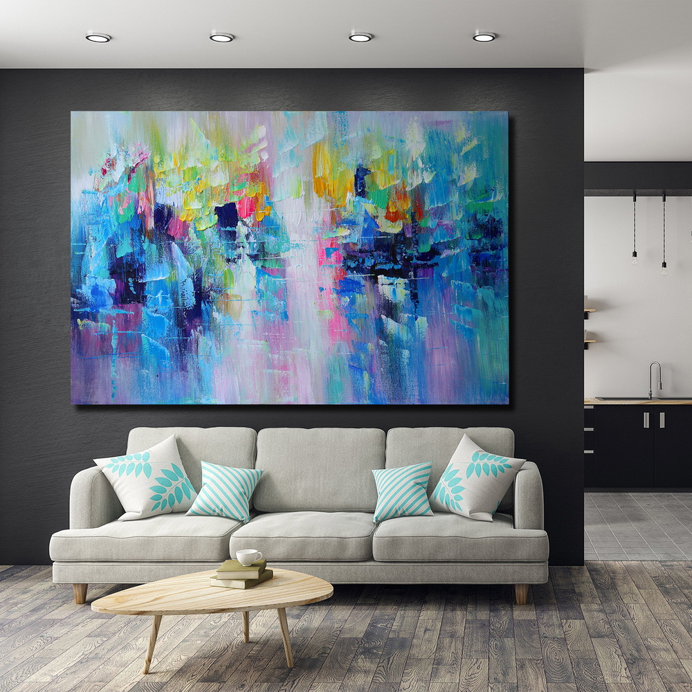 QINGYAZI HQ009 Hand-Painted Abstract Oil Painting Home Wall Art Painting- Cobalt Blue 60cm x 90 cm ( 24 x 36 Inch )