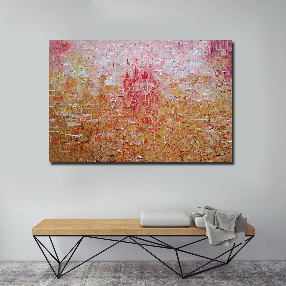 QINGYAZI HQ064 Hand-Painted Abstract Oil Painting Home Wall Art Painting- Orange 60cm x 90 cm ( 24 x 36 Inch )