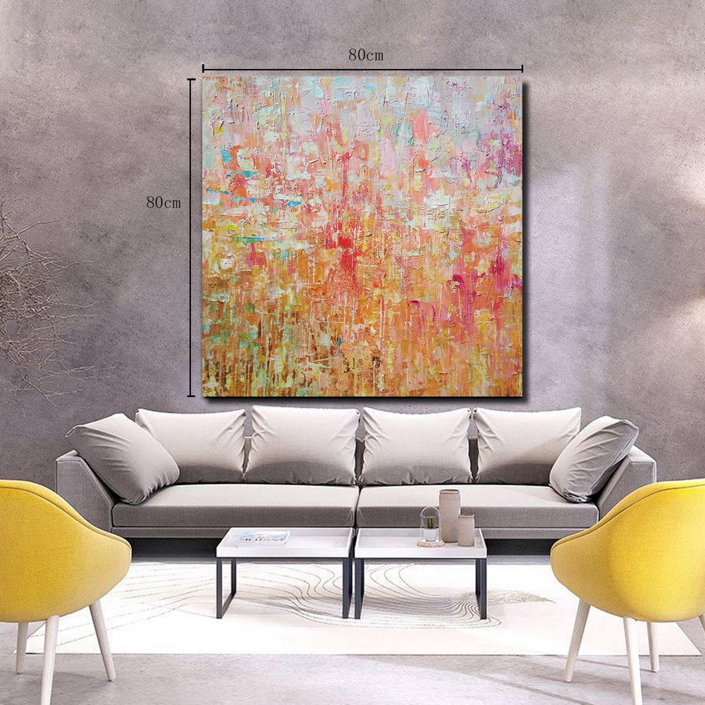 QINGYAZI HQ081 Hand-Painted Abstract Oil Painting Home Wall Art Painting- Cherry Red 80cm x 80 cm ( 32 x 32 Inch )
