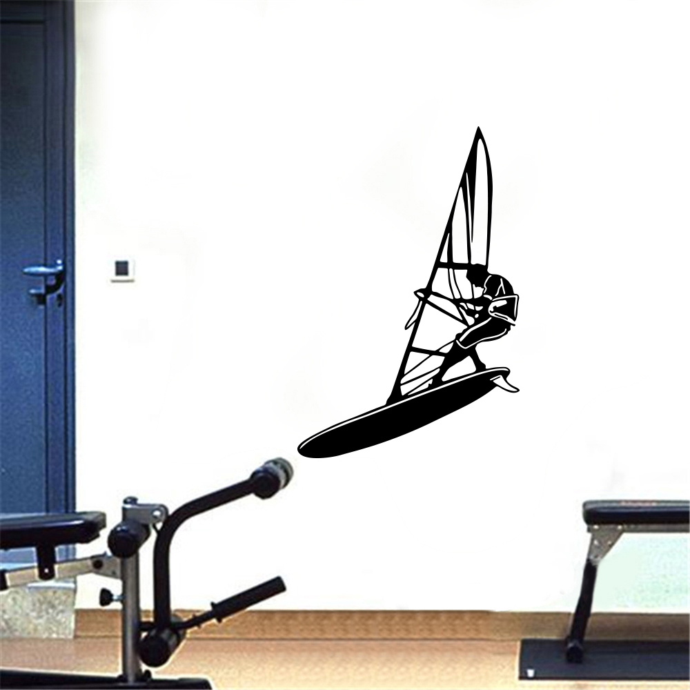 Sailboat Male Fitness Sports Home Background Wall Decoration Removable Stickers- Black 53x44cm