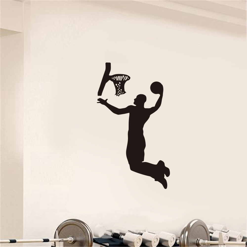 Playing Basketball Fitness Sports Home Background Decoration Removable Stickers- Black 36.3x63cm