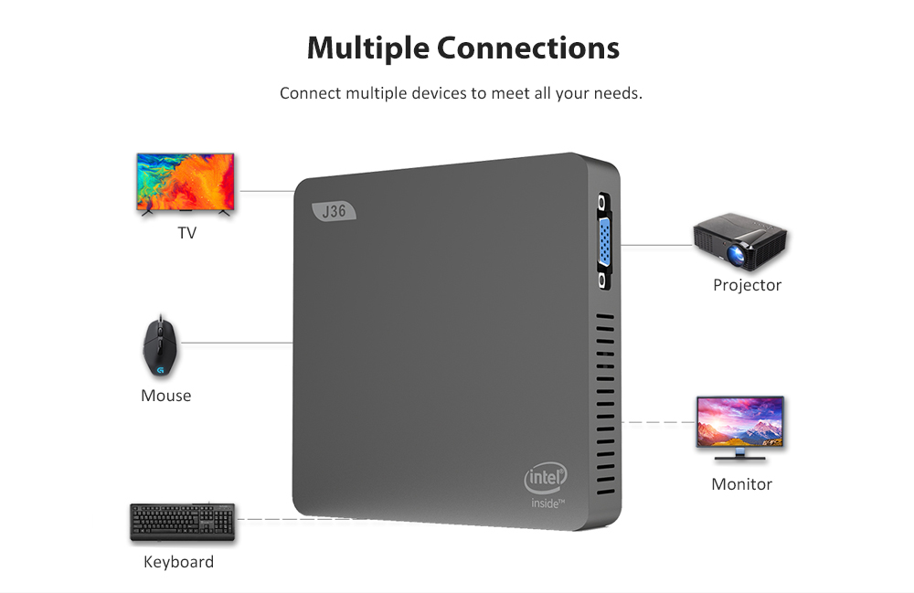 J36 - V Intel Celeron J3160 Home Office Mini PC HD Graphics 400 / Expandable 1TB 2.5 inch HDD / 2.4GHz + 5.8GHz WiFi / 2 x USB3.0 / 1000Mbps / BT4.0- Platinum 4GB RAM + 64GB EMMC EU Plug