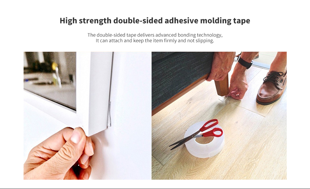 Non-marking Nano Adhesive Double-sided Tape Million Times Water-washing Durability - Transparent 5M