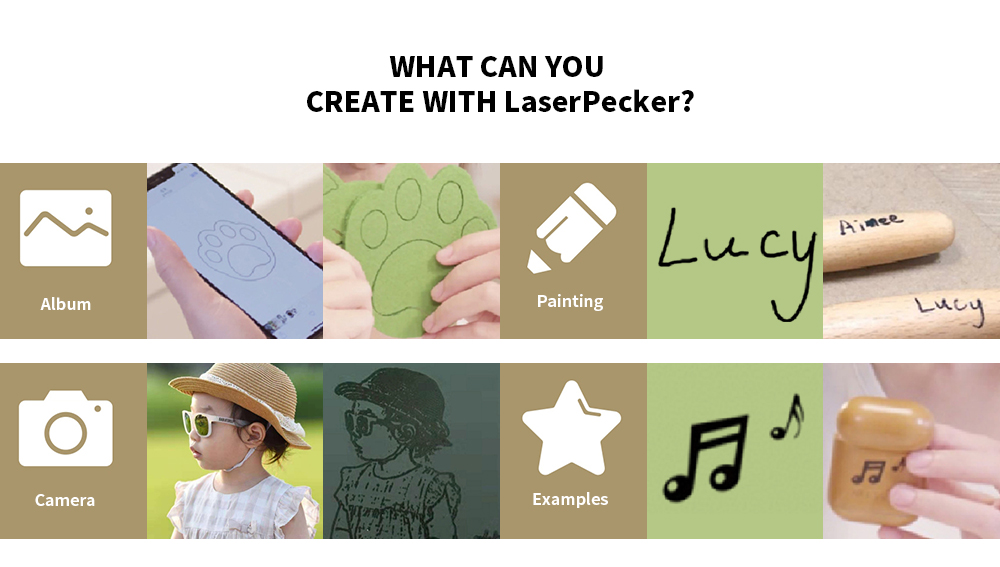 LaserPecker L1 Small Delicate Safety Integrated Engraving Machine 1600mw- Champagne Gold EU Plug