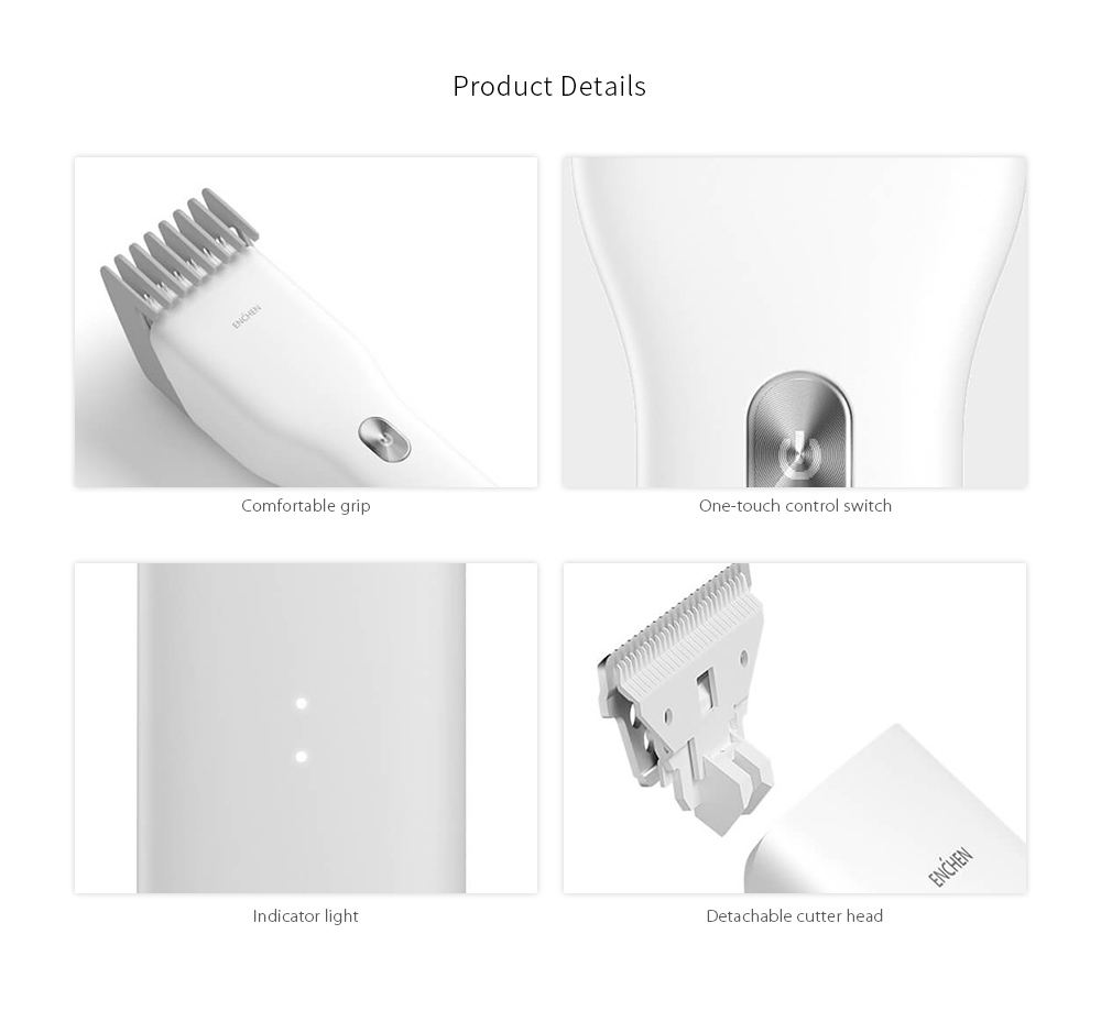 ENCHEN USB Fast Charging Electric Hair Clipper Two Speed ​​Ceramic Cutter from Xiaomi youpin - White