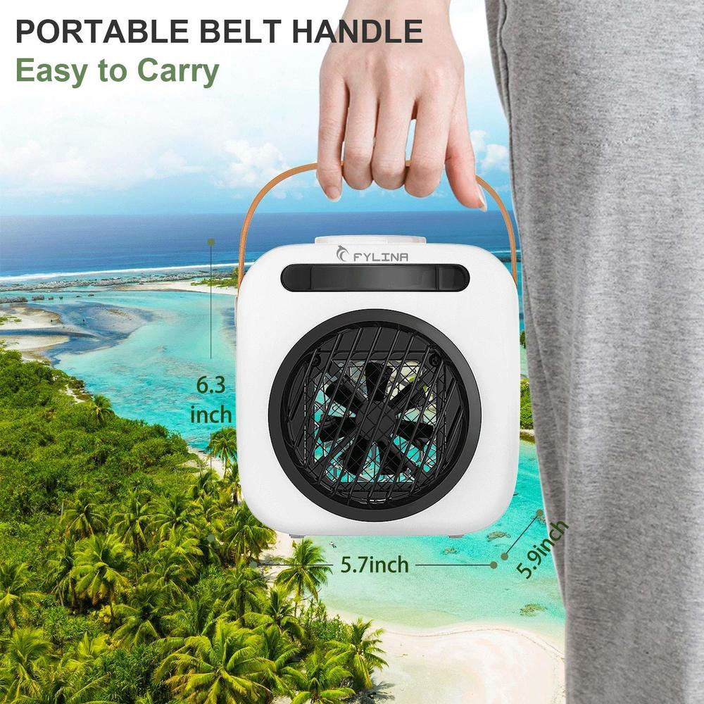 Portable USB Air Conditioning Fan Air Cooler Small Fan- Natural White