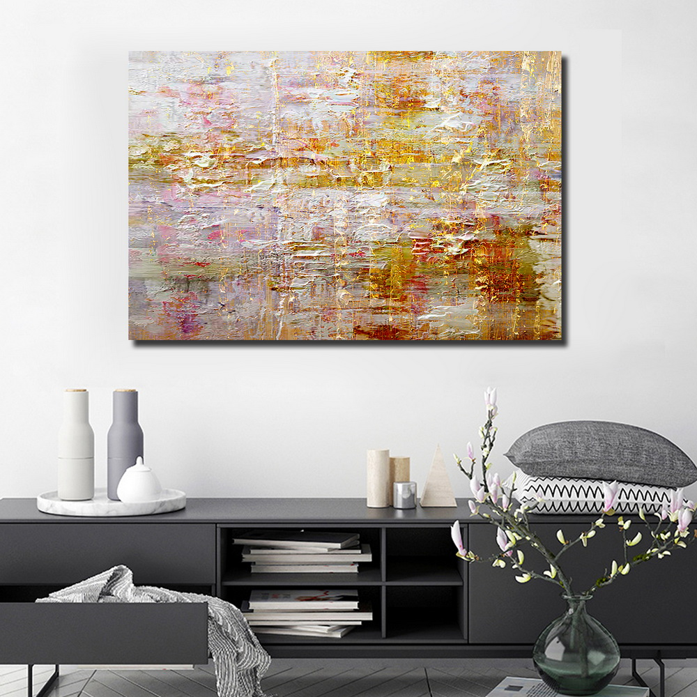 QINGYAZI HQ015 Hand-Painted Abstract Oil Painting Home Wall Art Painting- Bronze 24 x 36 inch (60cm x 90cm)