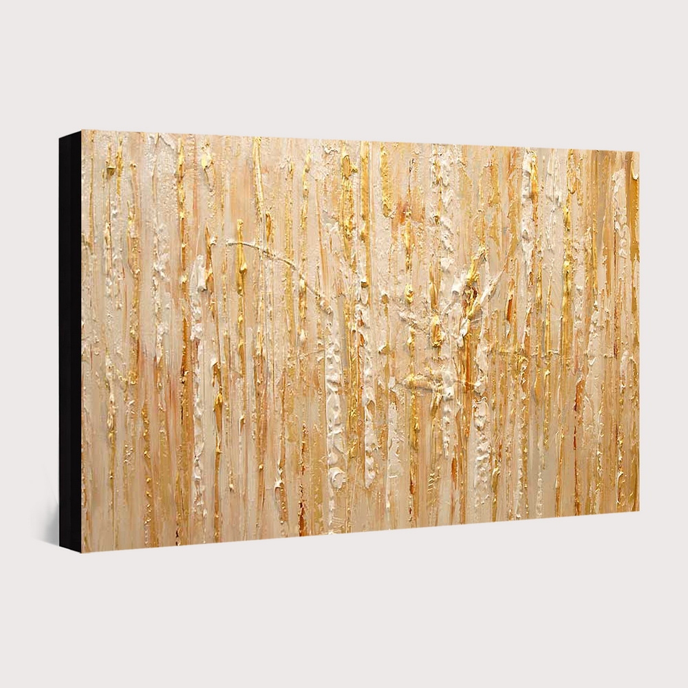 QINGYAZI HQ020 Hand-Painted Abstract Oil Painting Home Wall Art Painting- Gold 24 x 36 inch (60cm x 90cm)