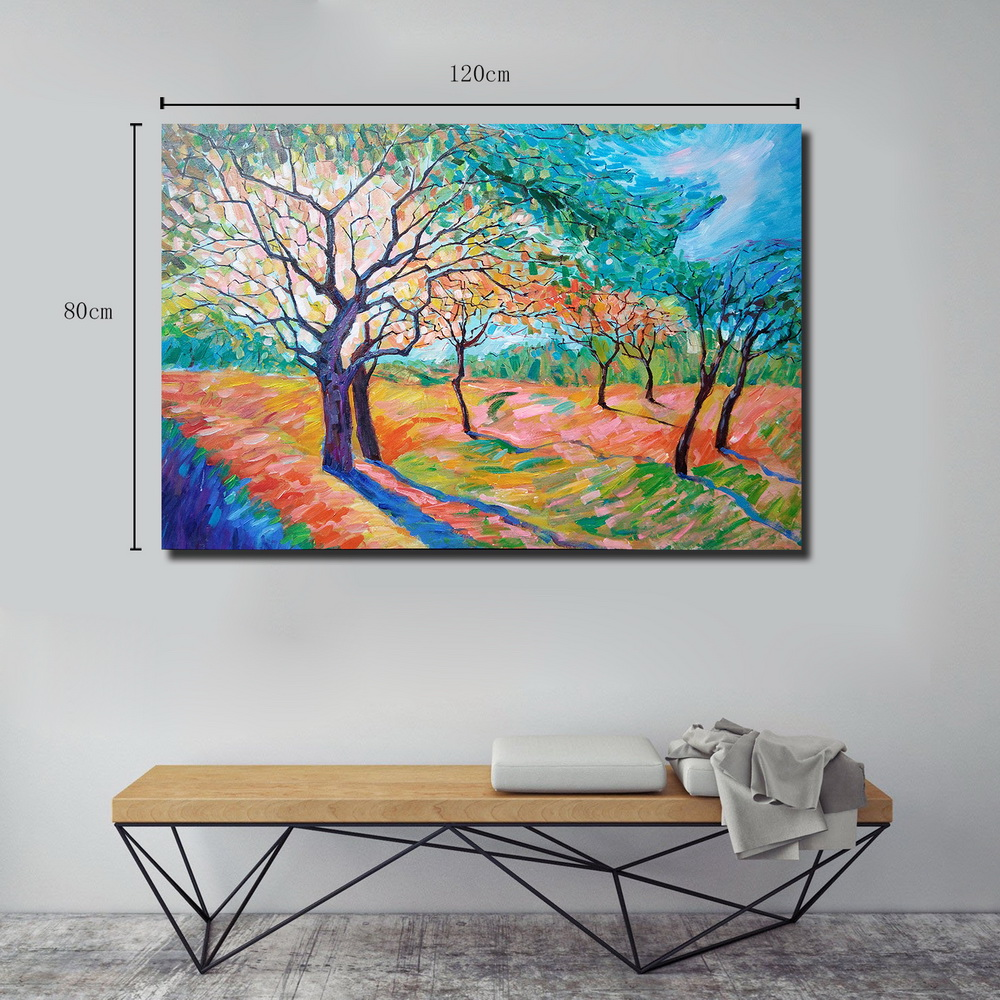 QINGYAZI HQ024 Hand-Painted Abstract Oil Painting Home Wall Art Painting- Sky Blue 24 x 36 inch (60cm x 90cm)
