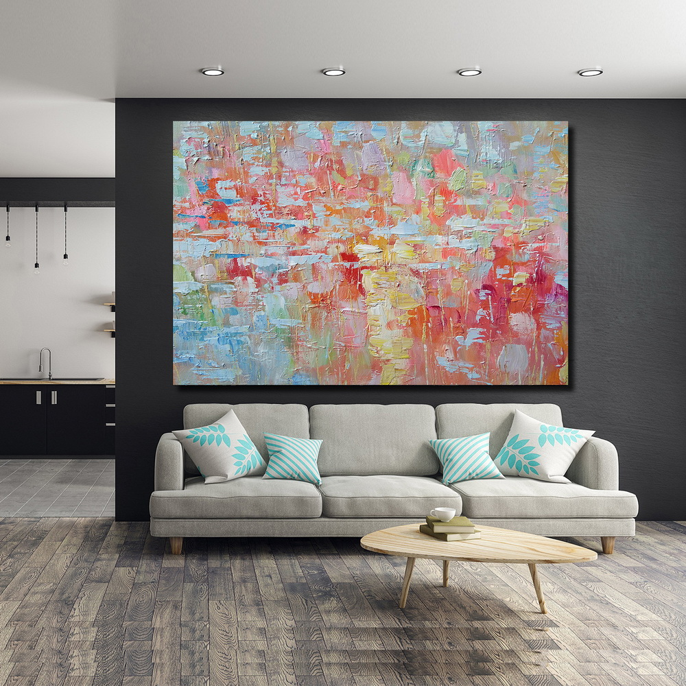 QINGYAZI HQ026 Hand-Painted Abstract Oil Painting Home Wall Art Painting- Blossom Pink 24 x 36 inch (60cm x 90cm)