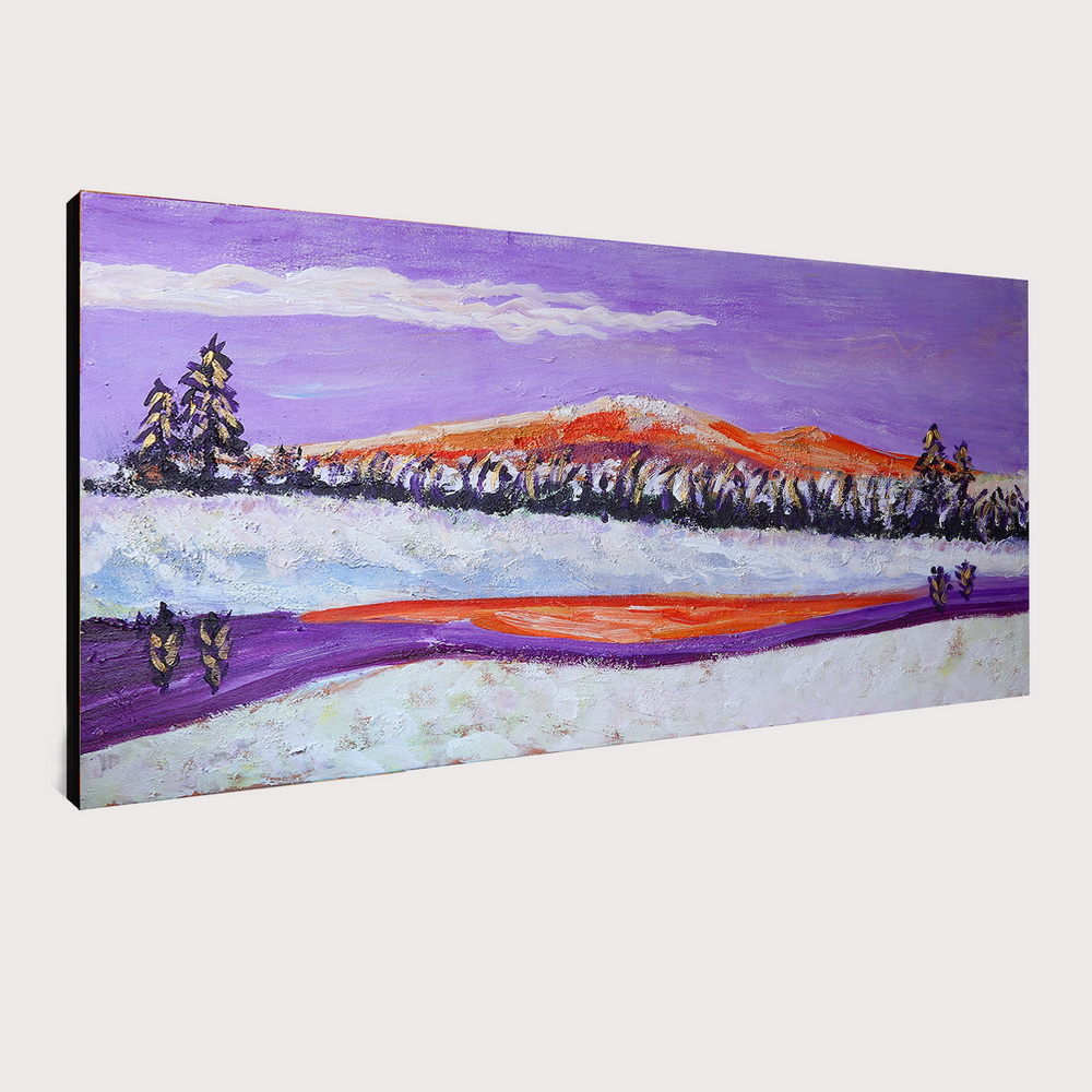 QINGYAZI HQ030 Hand-Painted Abstract Oil Painting Home Wall Art Painting- Medium Orchid 24 x 48 inch (60cm x 120cm)