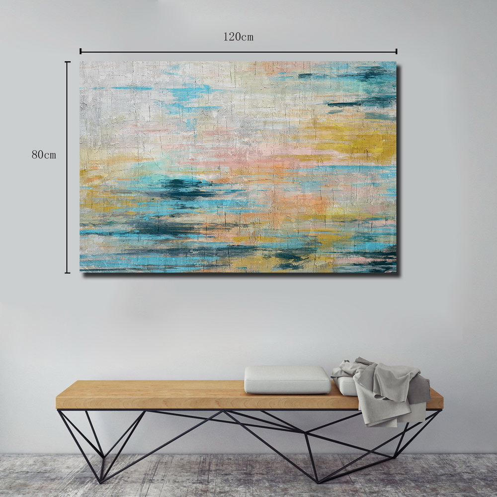 QINGYAZI HQ031 Hand-Painted Abstract Oil Painting Home Wall Art Painting- Pale Blue Lily 24 x 36 inch (60cm x 90cm)