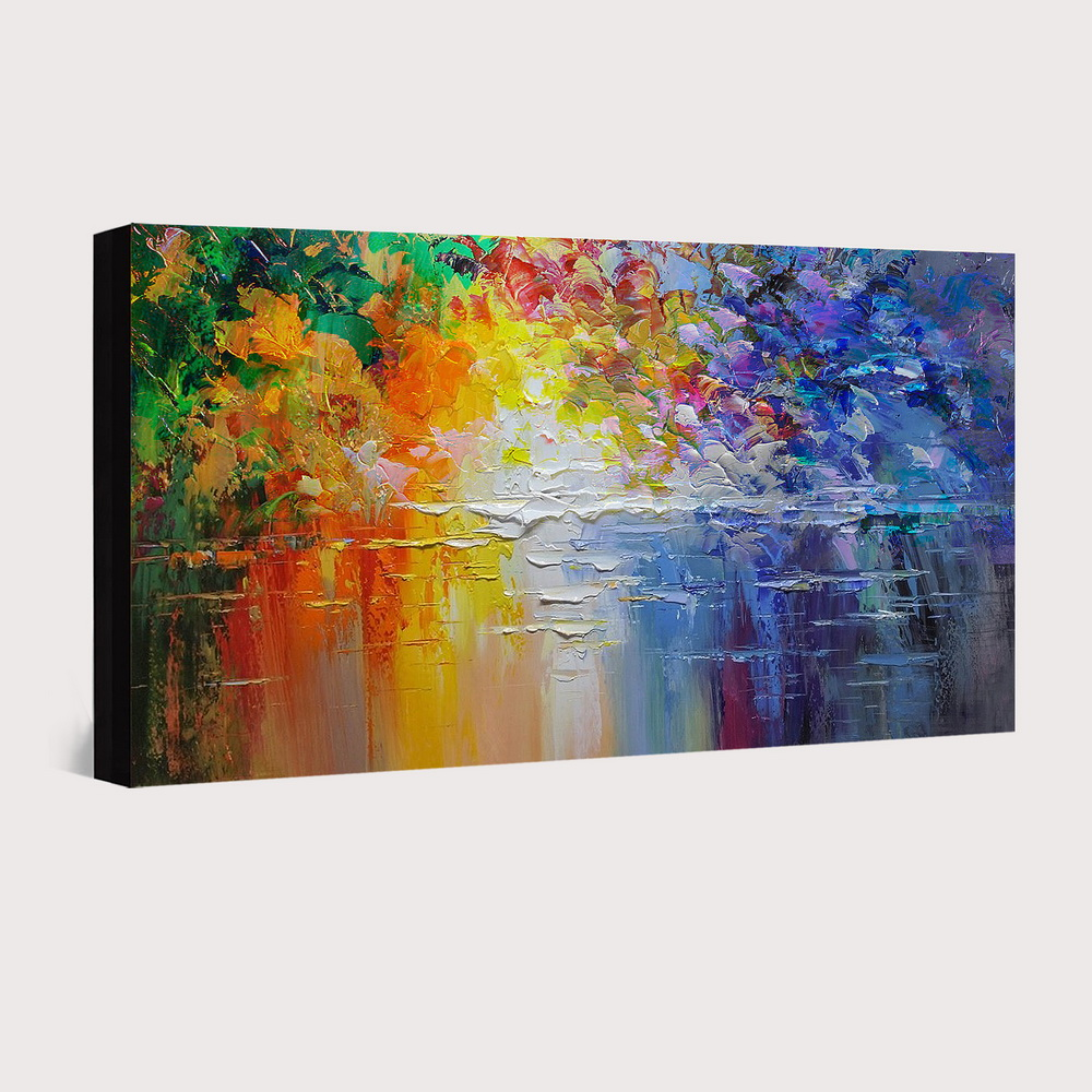 QINGYAZI HQ033 Hand-Painted Abstract Oil Painting Home Wall Art Painting- Cobalt Blue 24 x 36 inch (60cm x 90cm)
