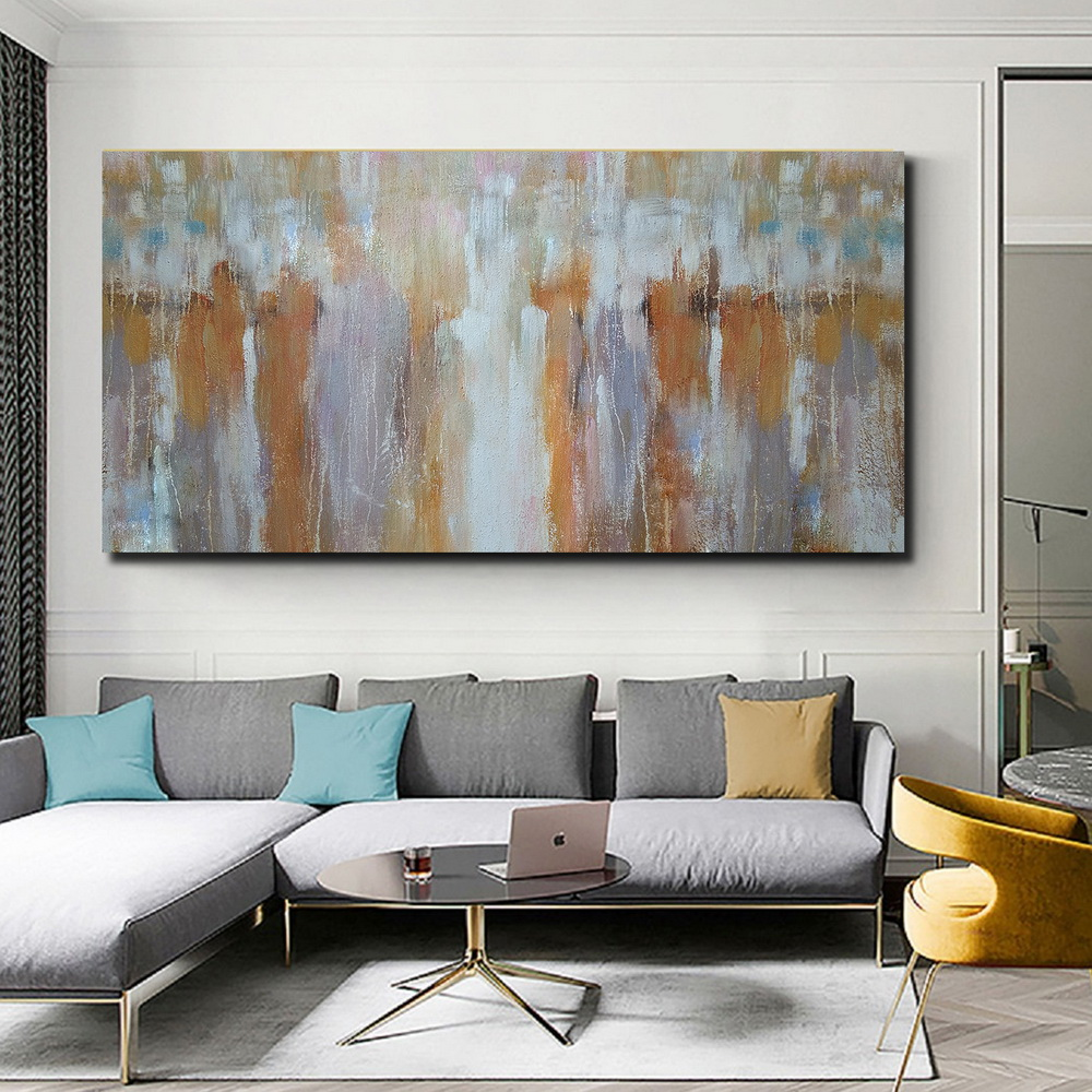 QINGYAZI HQ034 Hand-Painted Abstract Oil Painting Home Wall Art Painting- Vanilla 24 x 36 inch (60cm x 90cm)