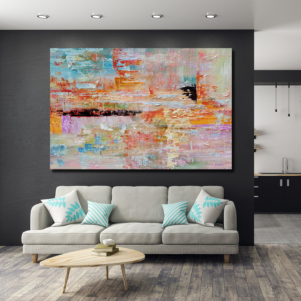 QINGYAZI HQ037 Hand-Painted Abstract Oil Painting Home Wall Art Painting- Sandy Brown 24 x 36 inch (60cm x 90cm)