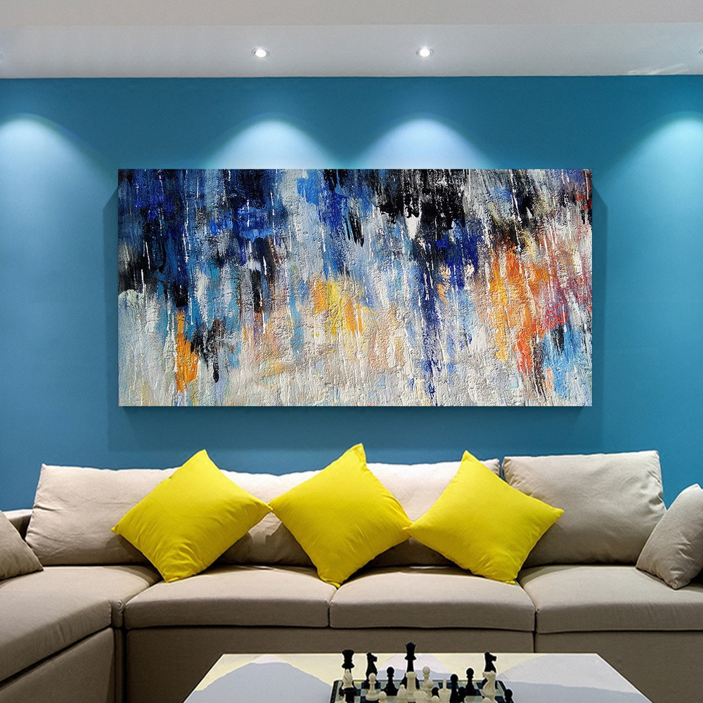 QINGYAZI HQ038 Hand-Painted Abstract Oil Painting Home Wall Art Painting- Cadetblue 24 x 48 inch (60cm x 120cm)