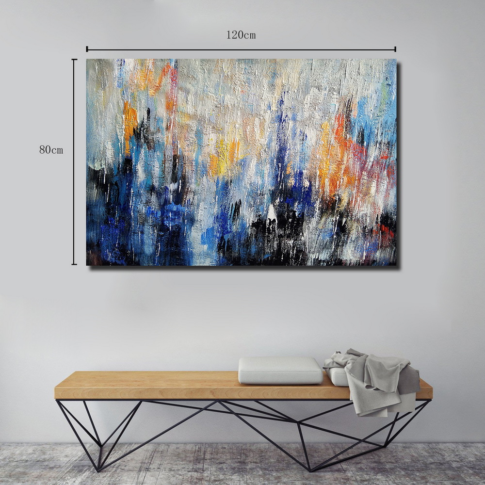 QINGYAZI HQ040 Hand-Painted Abstract Oil Painting Home Wall Art Painting- Cobalt Blue 24 x 36 inch (60cm x 90cm)