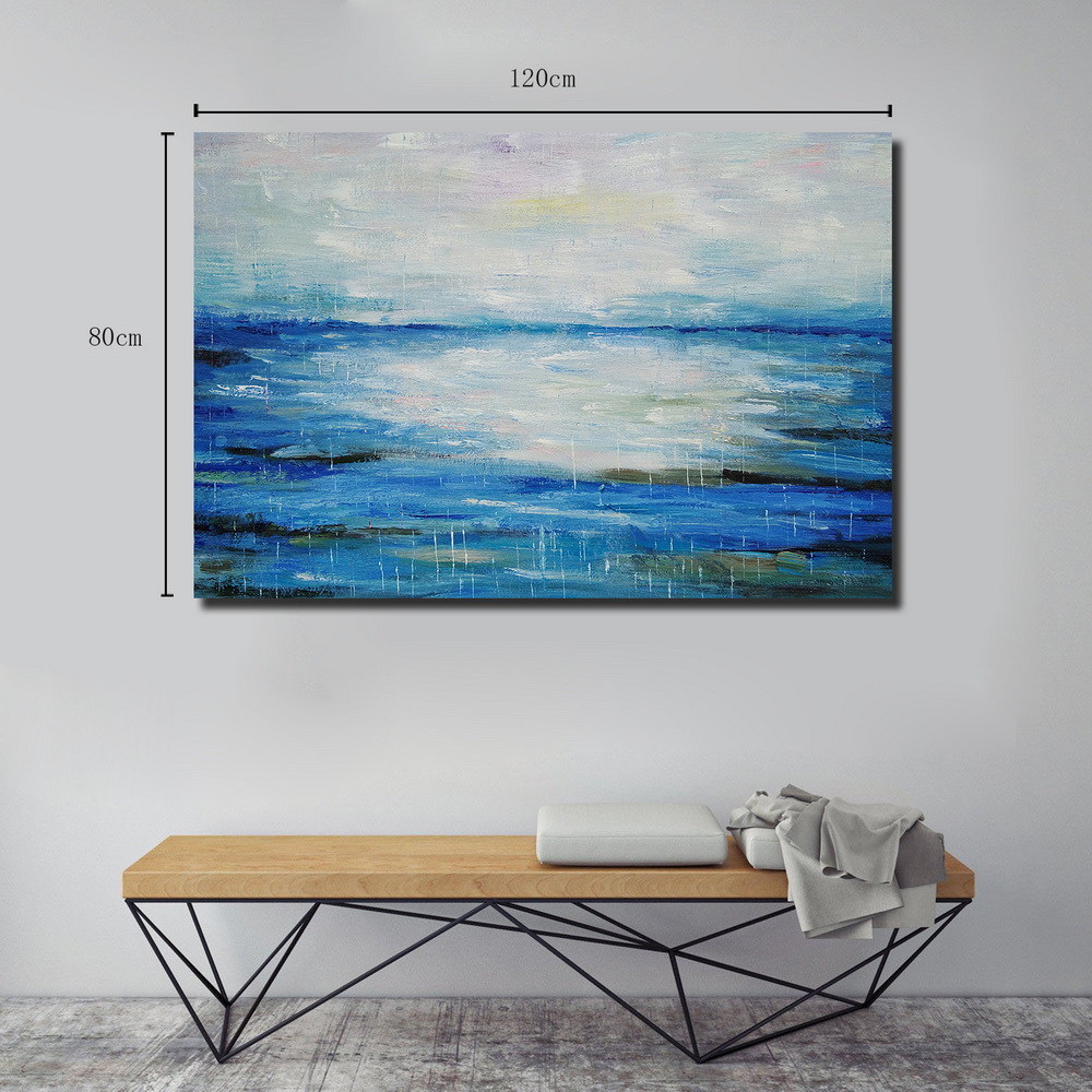 QINGYAZI HQ041 Hand-Painted Abstract Oil Painting Home Wall Art Painting- Sky Blue 24 x 48 inch (60cm x 120cm)