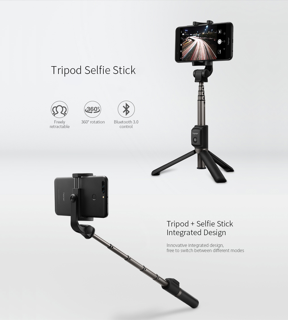 HUAWEI Honor AF15 Bluetooth 3.0 Wireless 360-degree Rotating Tripod Selfie Stick- Black