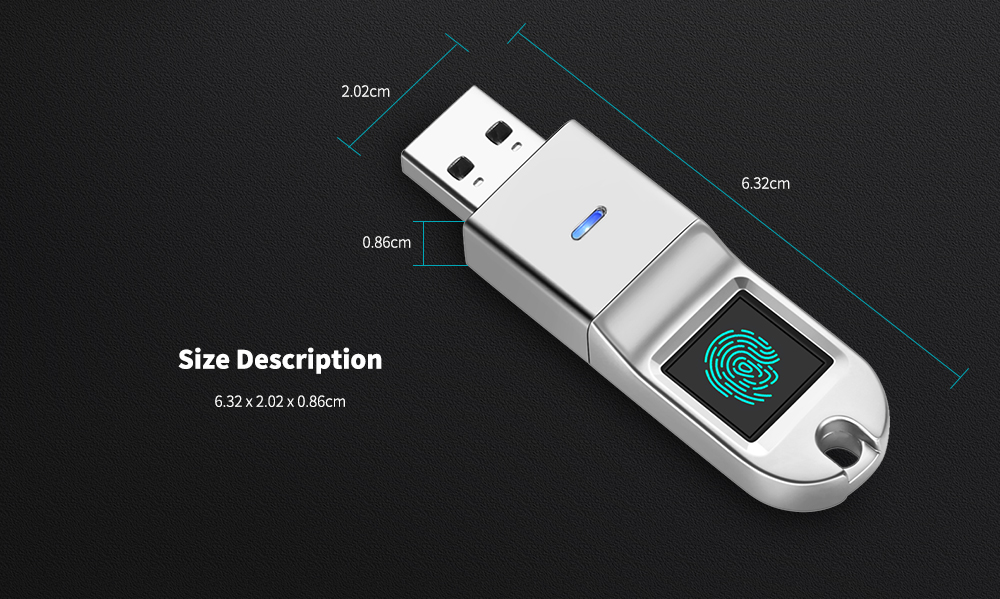 Gocomma GH008 Original Fingerprint Encryption USB3.1 Flash Drive- Silver 32G