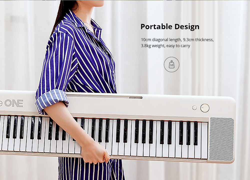 TheONE Keyboard Air 61 Key Ultra-thin and Portable Electronic Organ Bluetooth Connection from Xiaomi youpin- Black