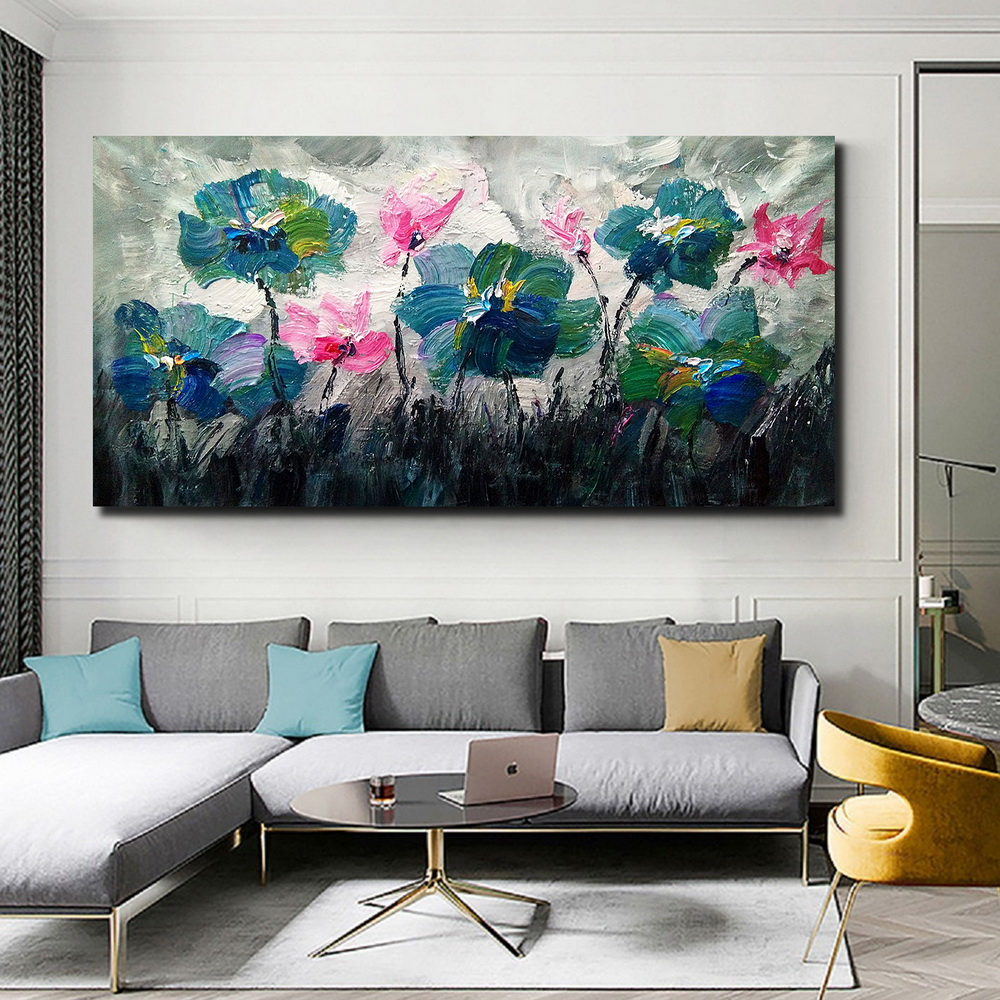 QINGYAZI HQ039 Hand-Painted Abstract Oil Painting Home Wall Art Painting- Greenish Blue 24 x 48 inch (60cm x 120cm)