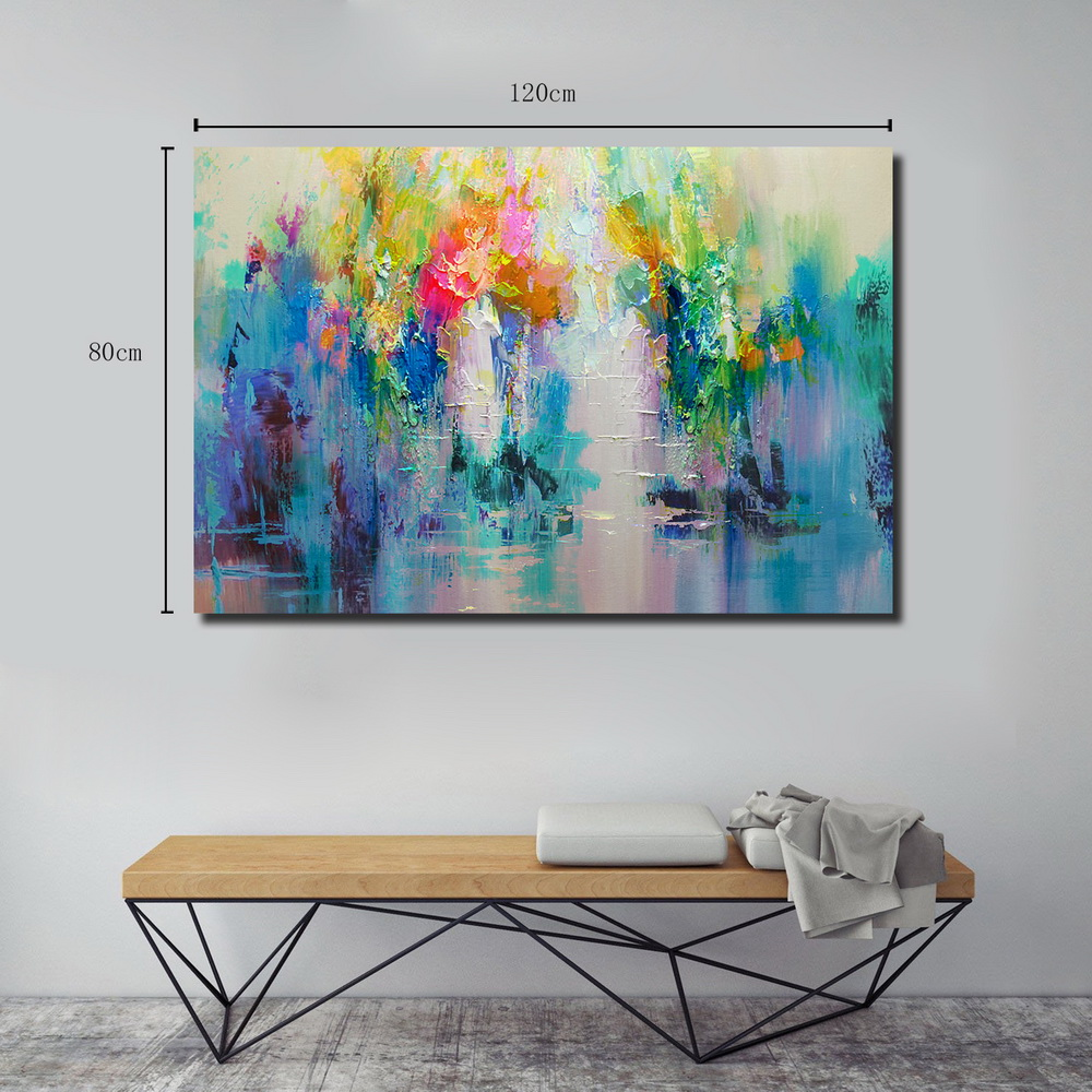 QINGYAZI HQ032 Hand-Painted Abstract Oil Painting Home Wall Art Painting- Sky Blue 24 x 36 inch (60cm x 90cm)