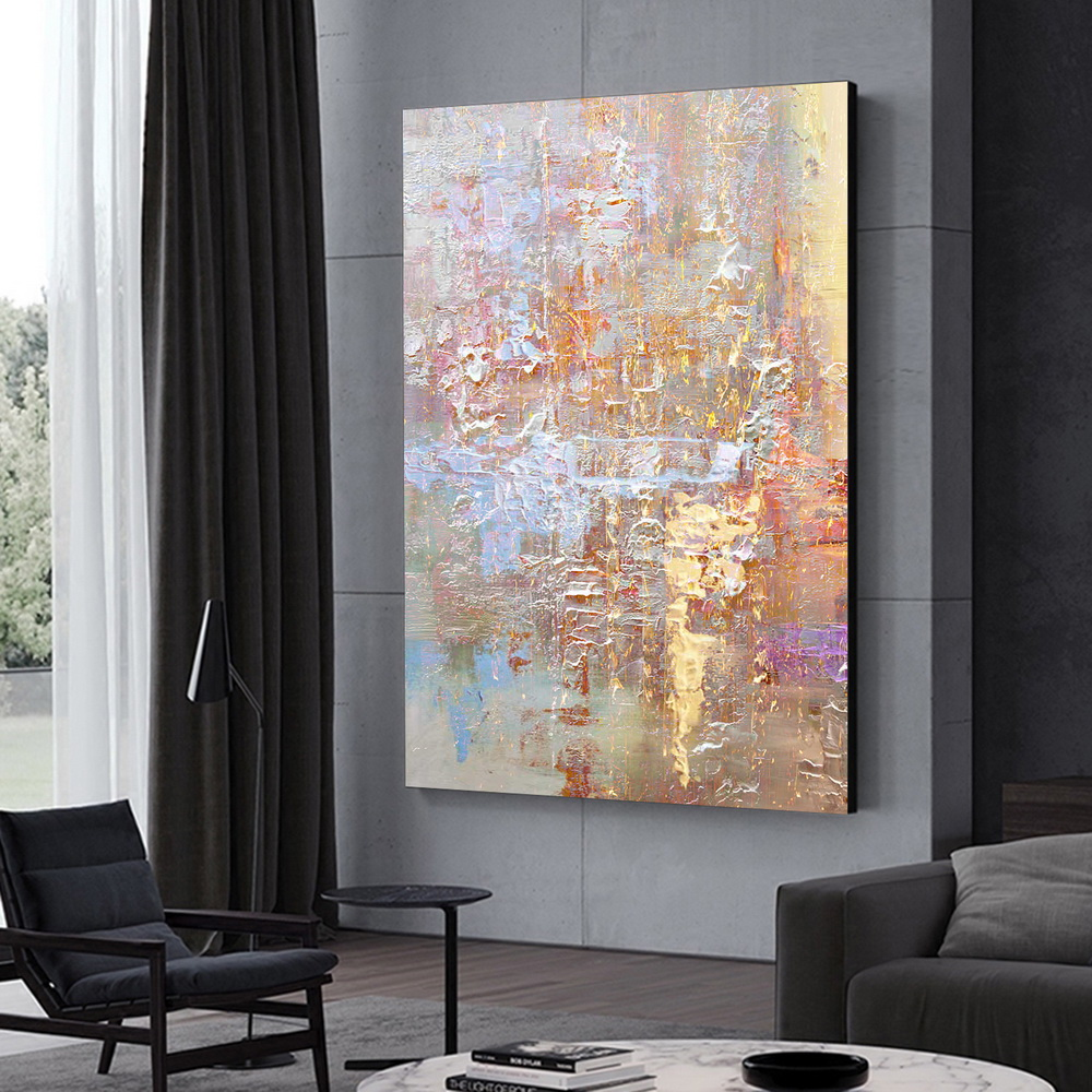 QINGYAZI HQ022 Hand-Painted Abstract Oil Painting Home Wall Art Painting- Blossom Pink 24 x 36 inch (60cm x 90cm)