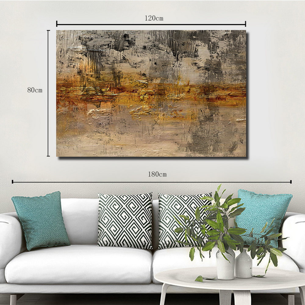 QINGYAZI HQ019 Hand-Painted Abstract Oil Painting Home Wall Art Painting- Corn Yellow 24 x 36 inch (60cm x 90cm)