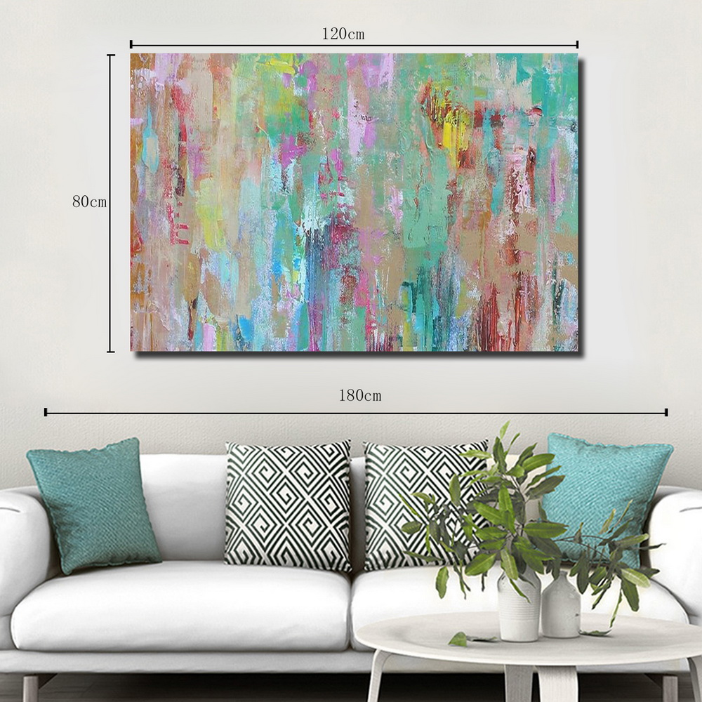 QINGYAZI HQ010 Hand-Painted Abstract Oil Painting Home Wall Art Painting- Cyan Opaque 24 x 36 inch (60cm x 90cm)