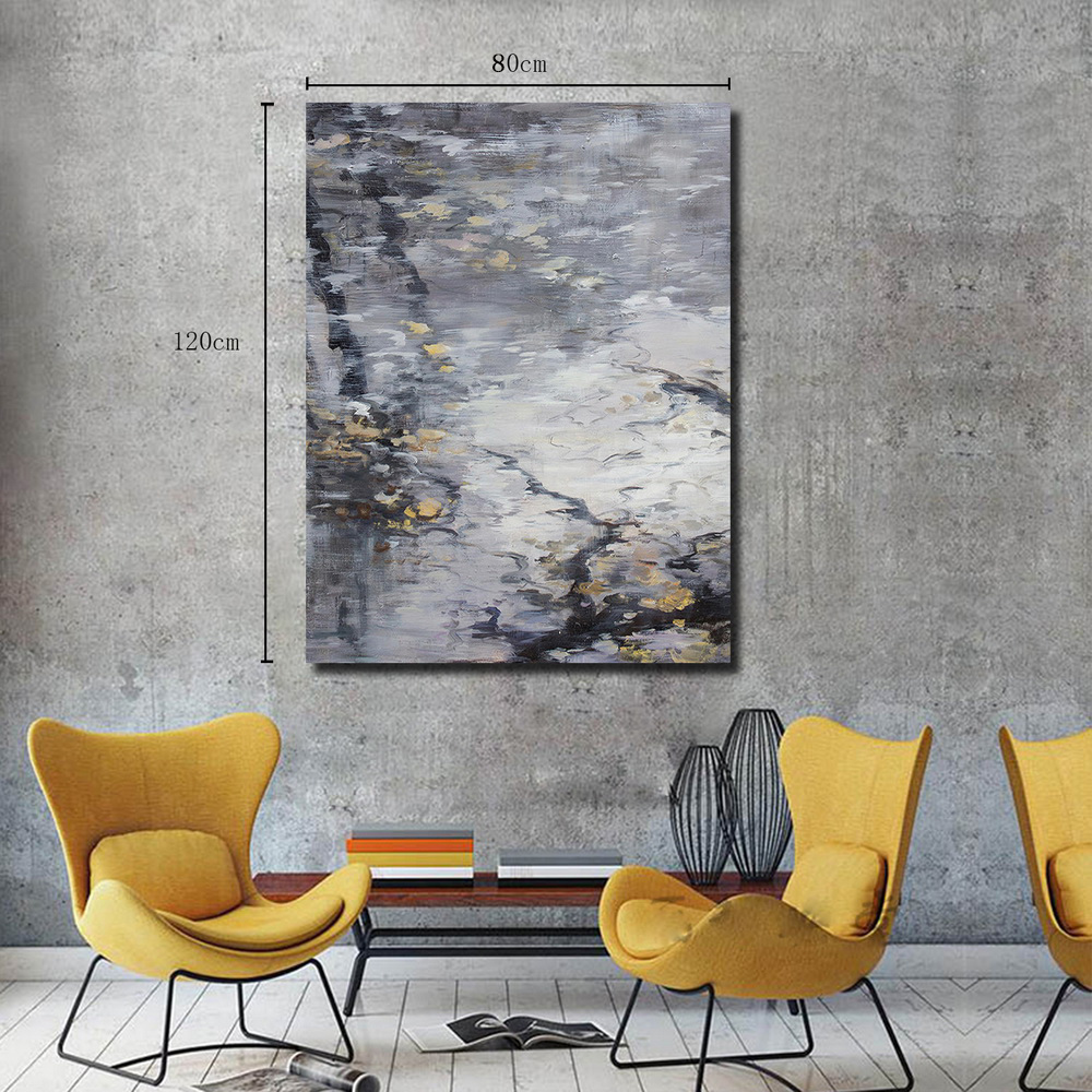 QINGYAZI HQ007 Hand-Painted Abstract Oil Painting Home Wall Art Painting- Smokey Gray 24 x 36 inch (60cm x 90cm)