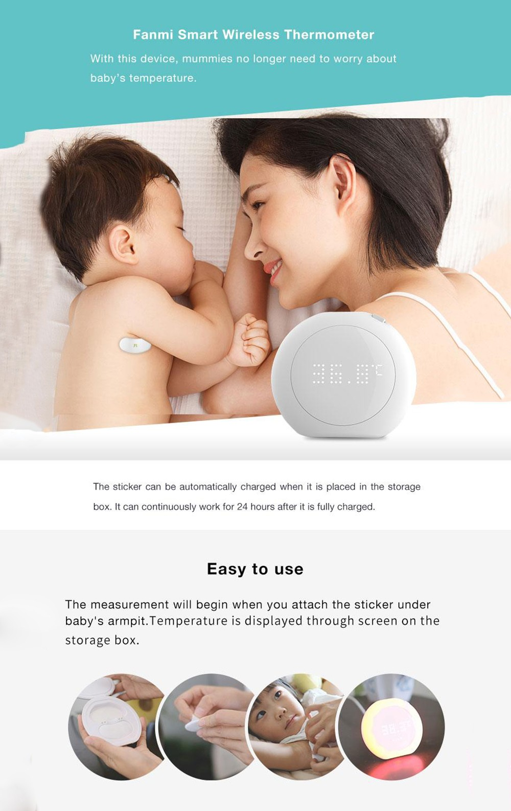 Fanmi FL - BFM001 24 Hour Intelligent Baby Fever Monitor with Wireless Alerts Wearable Smart Thermometer Digital Accurate Reading for Infant Toddlers- Warm White