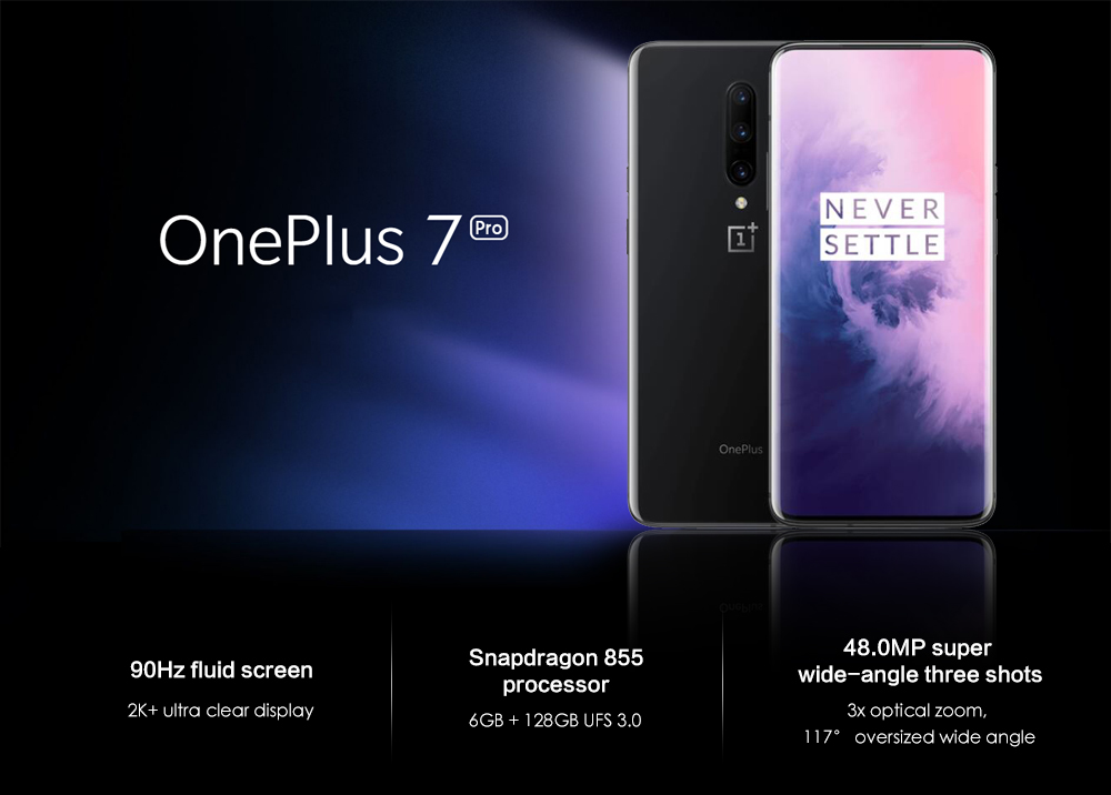 OnePlus 7 Pro 4G Phablet 6.67 inch Android 9.0 Snapdragon 855 Octa Core 2.84GHz 6GB RAM 128GB ROM 48.0MP + 16.0MP + 8.0MP Rear Camera 4000mAh Battery- Gray