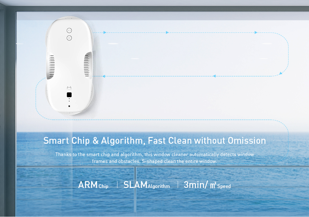 DDC55 120W Frequency Conversion Robotic Window Cleaner Automatic Glass Cleaning Robot from Xiaomi youpin- White