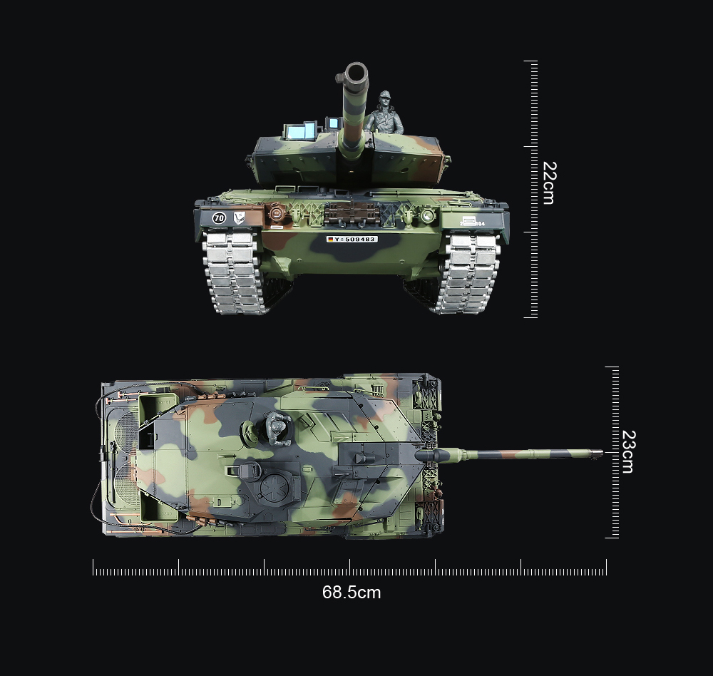 Henglong 1:16 Remote Control Main Battle Tank Toy Gift- ACU Camouflage
