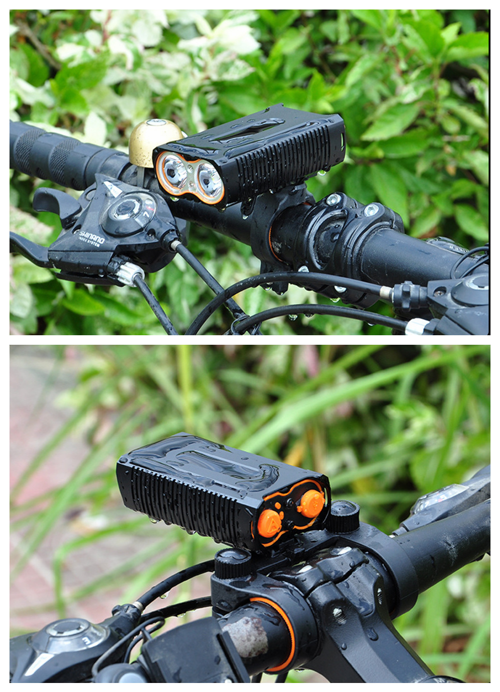ZHISHUNJIA Y6 USB Charged High Bright Bicycle Lamp with Battery Waterproof Lamp- Black