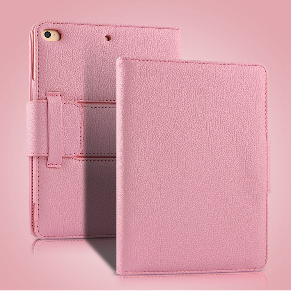 CHUMDIY PU Leather Bluetooth Keyboard Cover Case with Stand for iPad Mini 4/5- Pink