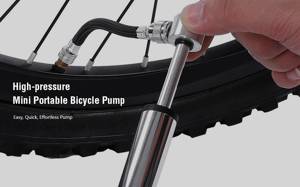 High-pressure Mini Portable Bicycle Pump - Silver