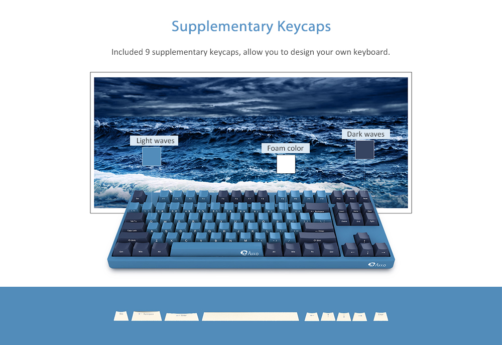 AKKO 3087 SP Ocean Star 87 Key Cherry MX Switch Mechanical Keyboard Side Letter Printed- Blueberry Blue Brown Switch
