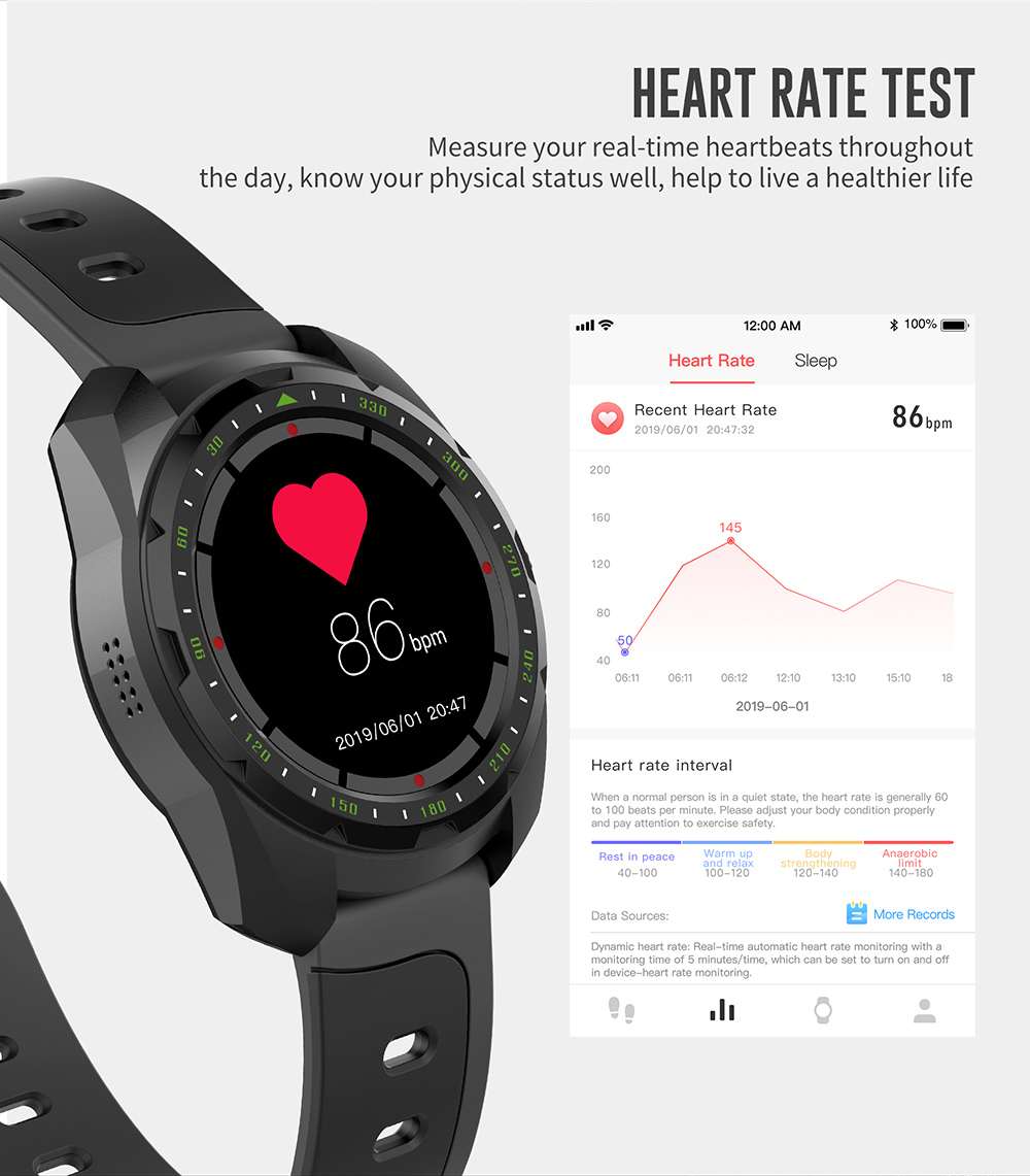 Kingwear KW01 Smart Bracelet 1.0 inch HD Screen IP68 Waterproof Bluetooth 4.0 Smartwatch Heart Rate Monitor Drinking Reminder - Black