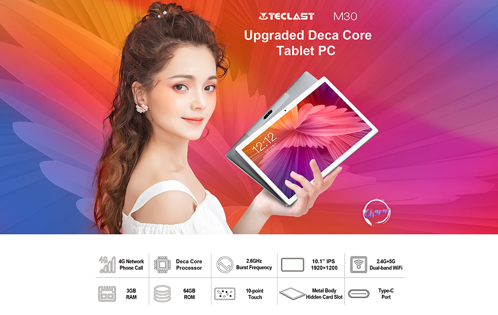 Teclast M30 10,1 Pollici 4G Smartphone Android 8.0- Argento