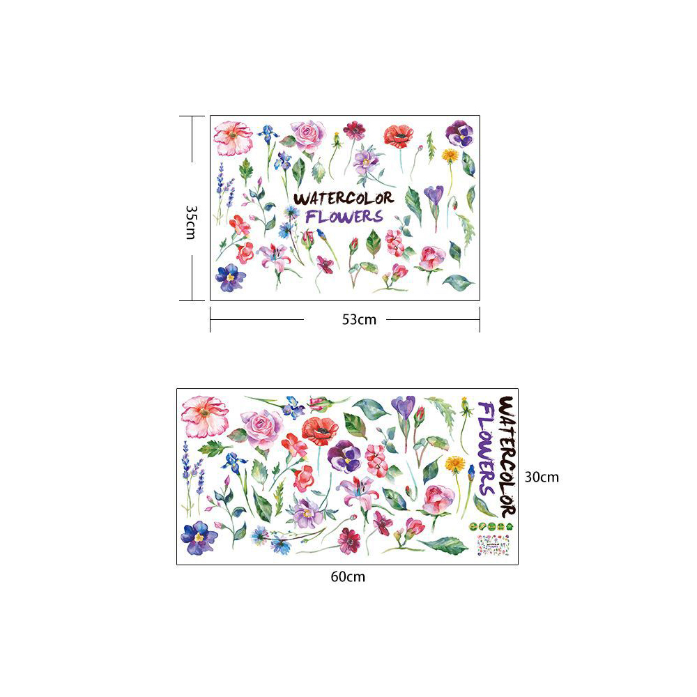 Fashion Colored Flowers PVC Window Film Wall Stickers For Home Decoration- Multi 60x30cm